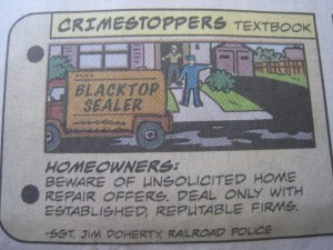 Photo of Dick Tracy Comic warning of Blacktop Sealer