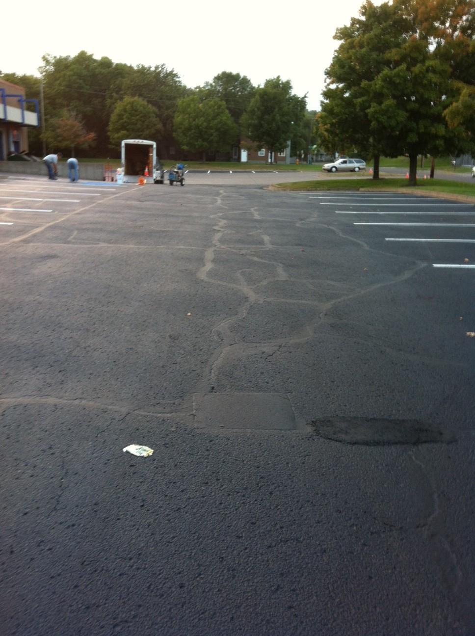 Asphalt patching, sealcoating and parking lot striping project in Duluth