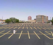 Shot of Commercial parking lotl line striping and sealcoating