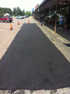 Brand new patch job and happy customer. Call us for your parking lot or  driveway  asphalt repair work in Duluth Superior and Northern Wisconsin and Minnesota.